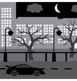 night street with car tree and buildings eps10 vector image