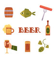 set of flat style colorful beer related icons vector image
