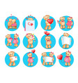 loving cartoon bears flat icons set vector image