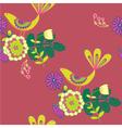 vintage birds and floral background vector image