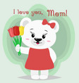 a nice polar bear stands and keeps three tulips in vector image vector image