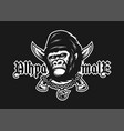 alpha male angry gorilla and crossed knives on a vector image vector image