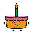 bakery birthday cake kawaii cartoon vector image vector image
