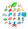 bankrupt icons set isometric style vector image