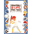 baseball player man character in catchers vector image vector image