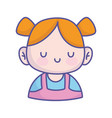 bashower cute little girl with ponytails hair vector image