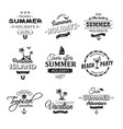 beach retro labels set on white vector image