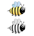 Bee cartoon in color and black-white vector image vector image