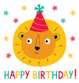 birthday greeting card with a cute lion vector image vector image