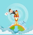 businessman riding a rocket and smoke through vector image
