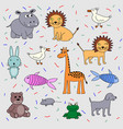 childrens drawing set of animals hippopotamus vector image vector image