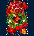 christmas decoration wreath greeting card vector image vector image