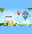 colorful air balloons flying in sky over summer vector image vector image
