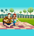 couple playing guitar together in a park vector image
