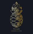 decorative golden pineapple vector image vector image