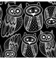 Decorative Hand dravn Cute Owl Sketch Doodle White vector image vector image
