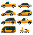 different kinds of transportation in yellow vector image vector image