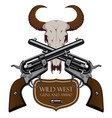 emblem with two old crossed revolvers and skull vector image vector image