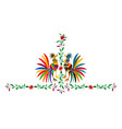 ethnic mexican roosters embroidery otomi style vector image