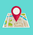 flat map with pin map pointer icon vector image vector image