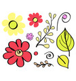 floral element flowers leaves vector image