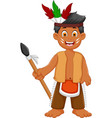 Funny man indian tribal cartoon posing