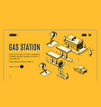 gas station web page isometric template vector image vector image