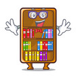 geek cartoon bookcase in the shape wood vector image
