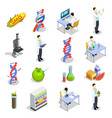 genetically modified organisms isometric icons vector image vector image