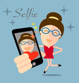 girl taking selfie photo on smart phone concept vector image