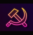 glowing neon line hammer and sickle ussr icon vector image vector image