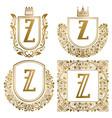 golden vintage monograms set heraldic logos z vector image
