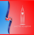 great britain flag and big ben in london united vector image