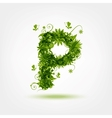Green eco letter P for your design vector image vector image