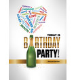 happy birthday party card with champagne bottle vector image