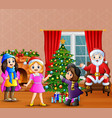 happy santa claus with three girl decorating a chr vector image vector image