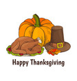 happy thanksgiving turkey and veggie poster vector image