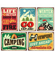 hiking and camping retro signs collection vector image