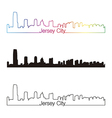 Jersey City skyline linear style with rainbow vector image vector image