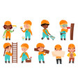 little builders wearing hard hat with construction vector image vector image