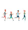 men and women running marathon race group vector image