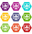 monitor icons set 9 vector image vector image