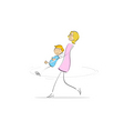 mother and son having fun vector image vector image
