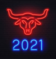 neon red ox for 2021 new year greeting card vector image vector image