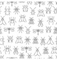 pencil drawing insects seamless pattern wild vector image