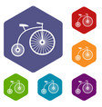 penny-farthing icons set vector image vector image