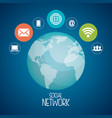 planet with social network icons vector image vector image