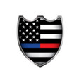 police and firefighter american flag badge emblem vector image
