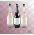red white and rose wine bottles on transparent vector image vector image