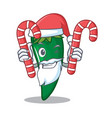 santa with candy green chili character cartoon vector image vector image